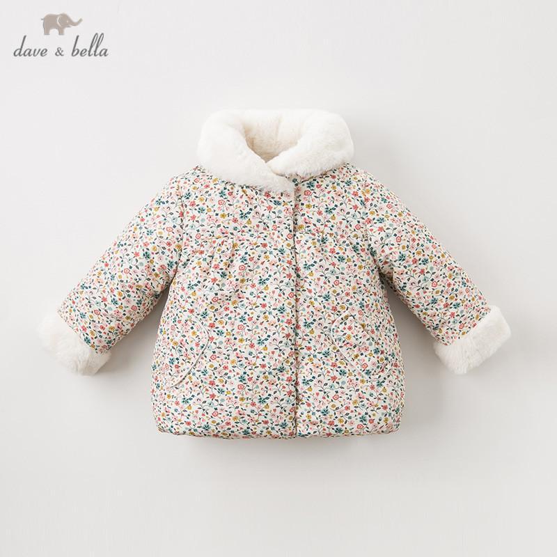 DBQ11696 de Dave invierno bella piel de los bebés de la capa de flores infantiles acolchado chaqueta de los niños cabritos de la capa de alta calidad ropa de abrigo acolchado 0927