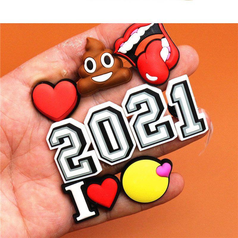 2021 원본 PVC 구두 버클 액세서리 재미 디지털 심장 모양의 대변 신발 장식 매력 팔찌 어린이 선물
