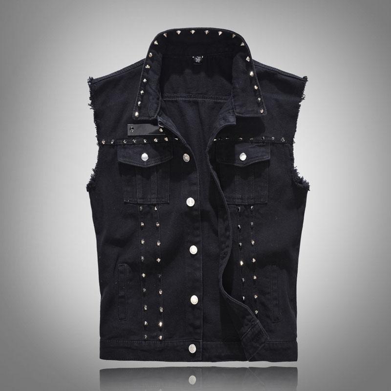 Klasik Vintage Erkek Kot Yelek Kolsuz ceketler Moda perçin Punk Rock tarzı Kovboy Yıpranmış Denim Vest tankları Ripped Tasarımları