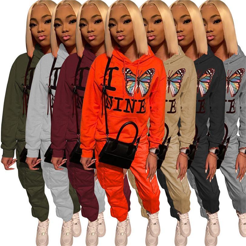 Mulheres borboleta impressão Calça de Letras com capuz Hoodies e terno de calças camisola Outono-Inverno Calças dois equipamentos Pieces Roupas D111105