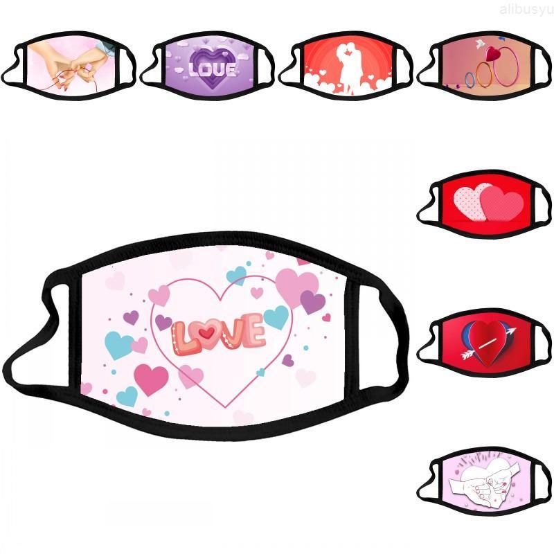 Печать маска DHL пара доставка моющиеся валентина дня для взрослых пыль хлопчатобумажная маска для лица дышащая ветрозащитная ткань крышка рта kimter-b272f