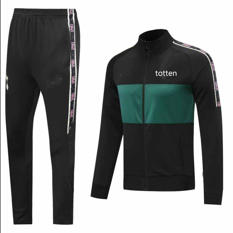 2020 2021 TOTT Survêtement veste en jersey de soccer adulte Survetement 20 21 le football noir sportswear veste verte