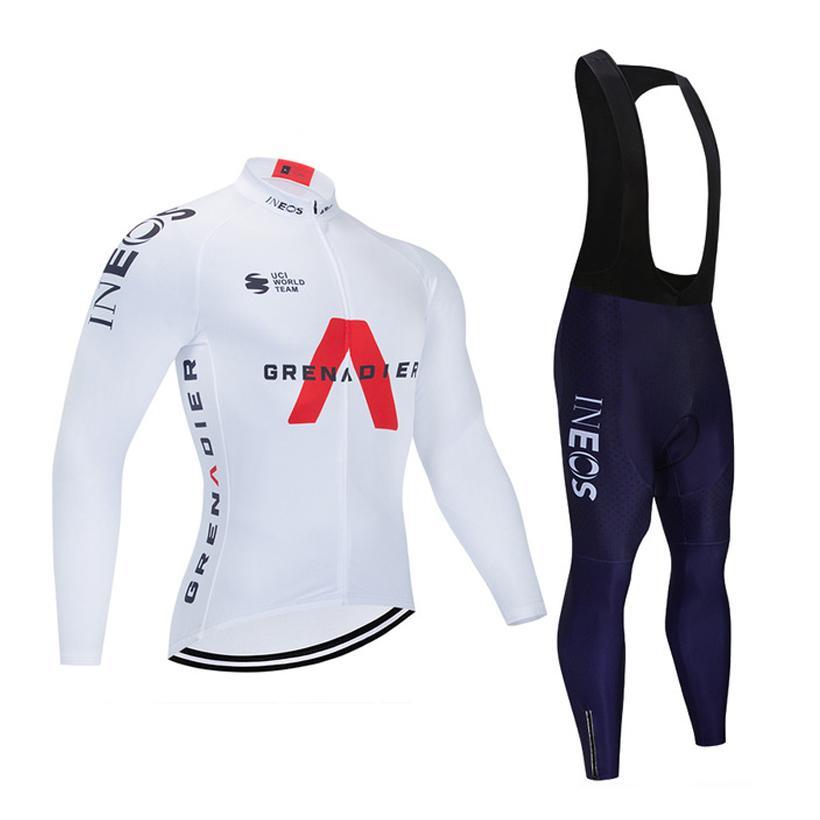 Cyclisme hiver Jersey Set 2020 Pro Team INEOS Hommes / Femmes vétement Cyclisme Toison 9D Gel rembourré Salopette Kit Ropa Ciclismo Invierno