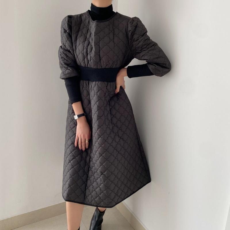 High Street Moda coreana invierno otoño vestido de moda gruesa gruesa cálida elegante retornado redondo cuello redondo manga larga vestidos túnicas oficina