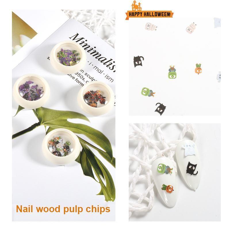 Nail Sticker Stickers Halloween Noël pâte de bois Piece Père Noël flocon de neige citrouille fantôme Nail Art Sticker adhésif Decal TSLM2