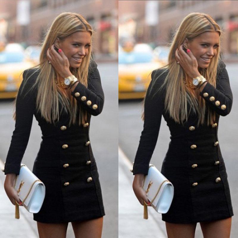 Nuevo vestido de invierno de otoño para mujeres botones de manga larga delgados casuales Bodycon Cóctel Mini vestido Vestidos femeninos Vestidos LJ201124