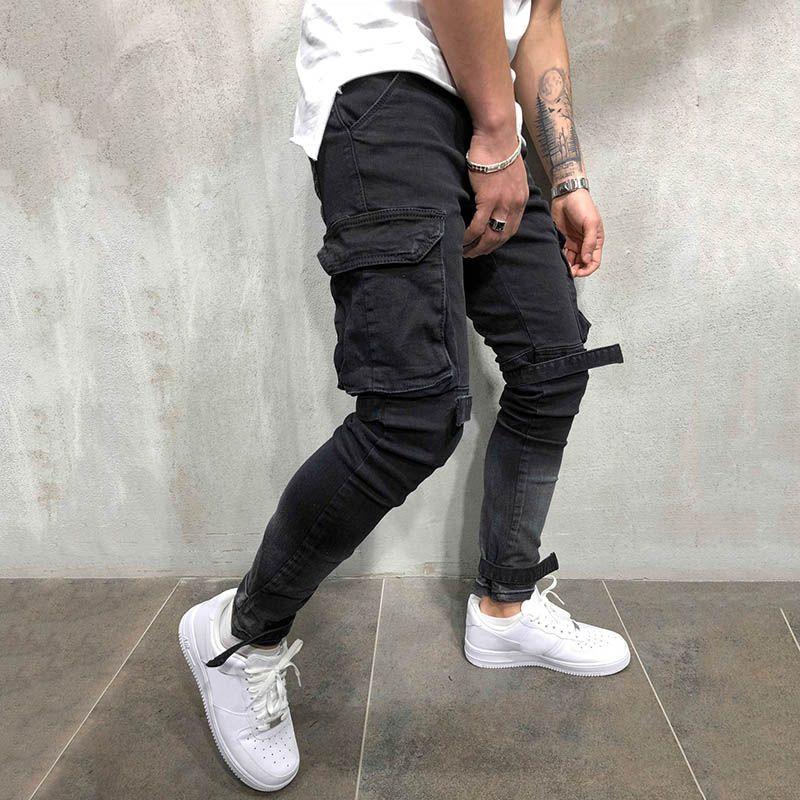 Pantalones vaqueros de los hombres de los hombres europeos y americanos Monos delgado Dimensional Zipper Pies Pantalones Pantalones de mezclilla juvenil