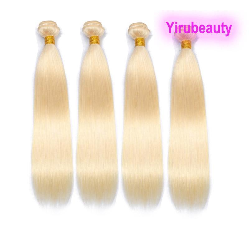 Малайзийская блондинка 10 пучков 100% девственные человеческие наращивания волос 613 цвет шелковистые прямые двойные WEFTS 10 шт. / Лот оптом
