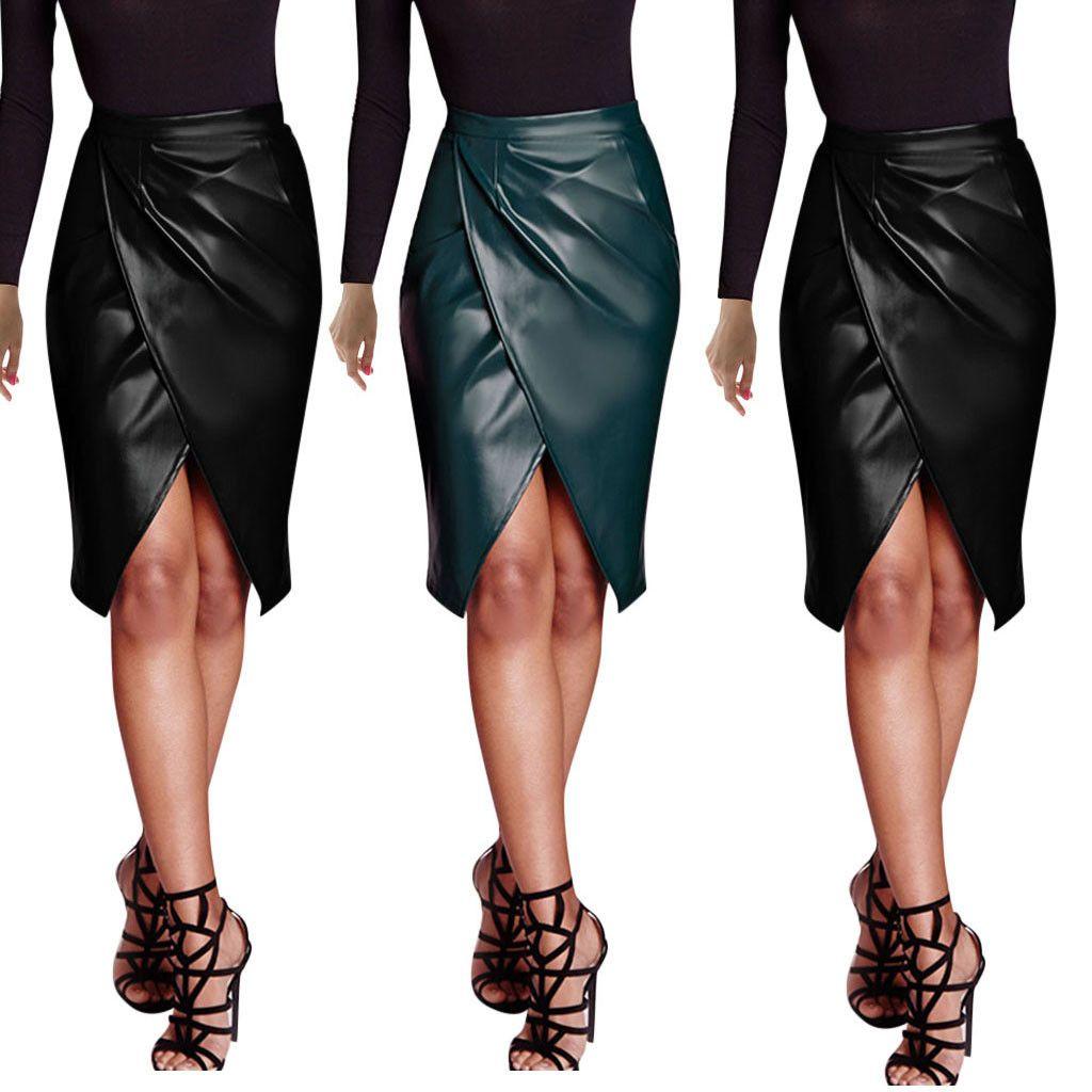 Cintura alta e joelho Frente Split sexy quadril lápis mulheres PU couro bodycon envoltório cross saia