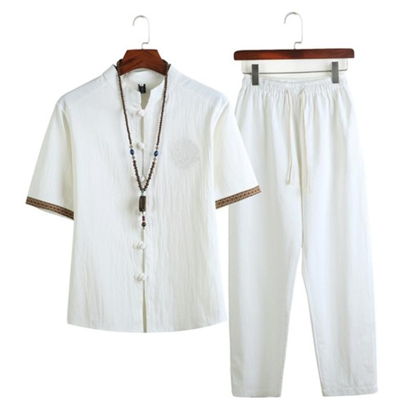 Летняя мужская льняная рубашка наборы мужской улицы Jogger Footsuits рубашки + длинные брюки китайский трексуит для мужчин 2 штуки набор 5xl 201109