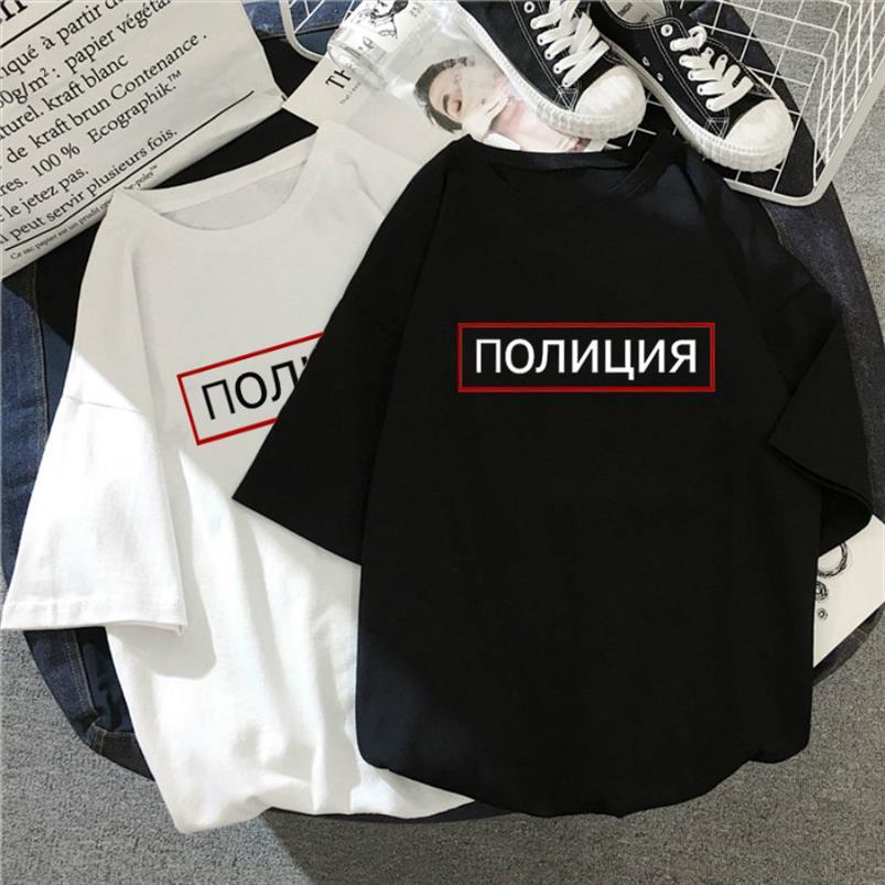 THE POLICE letter Russian large size tees casual vintage punk Harajuku black female short sleeved loose hip hop fun ins T shirt