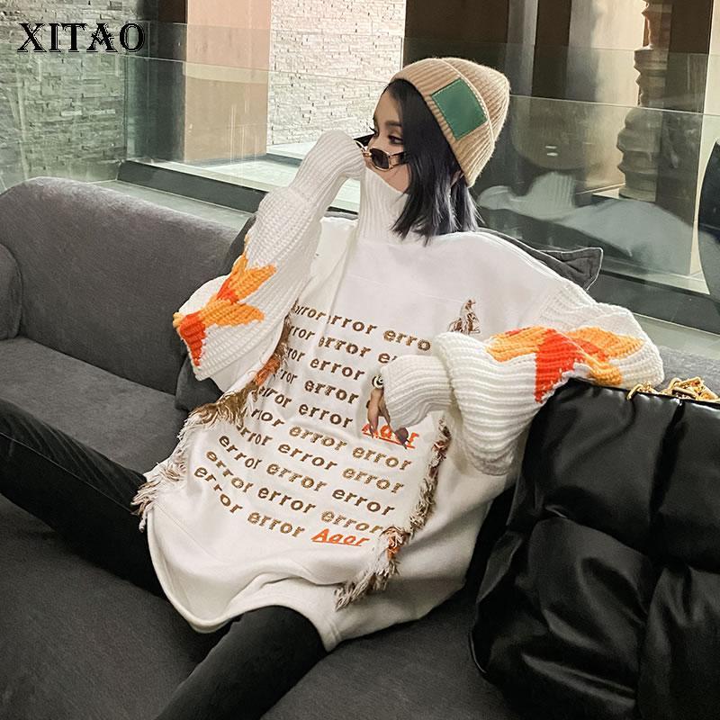Xitao Maglione moda di New donne Lettera Patchwork 2020 Inverno Plus Size casuale manicotto pieno stile Minority Maglione DZL2240