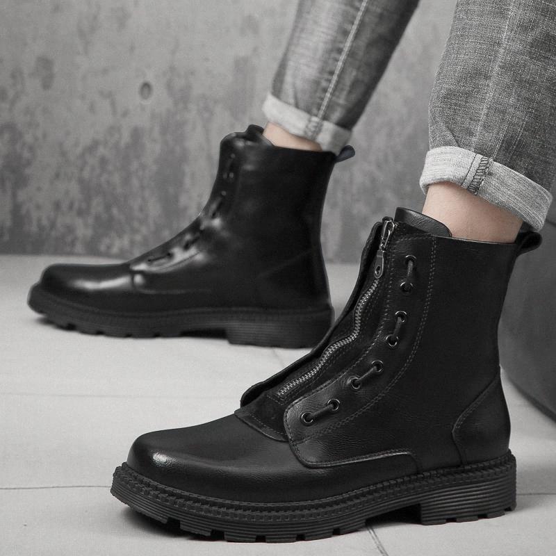 Erkek Çizmeler Trendy Açık Kış Tasarım Orta Buzağı Erkek Çizmeler Moda Ekleme Çizgili Lace Up Hakiki Deri Erkek Ayakkabı # AX6J