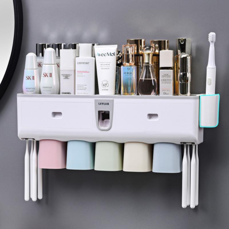 Oneup Toothbrush Holder Dentypaster Dispensador Dentífrico Automático Espremedor de Parede Casa de banho Banheiro Acessórios LJ201204