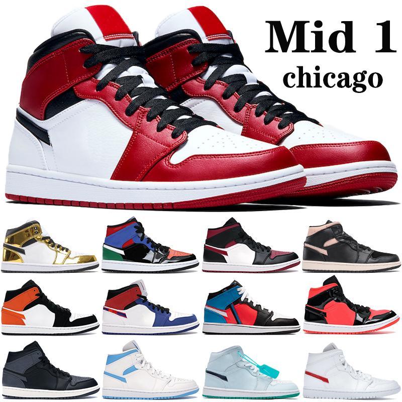 New melhor mid 1 1s tênis de basquete homens Jumpman chicago criados toe UNC múltiplas patentes de ouro metálico branco preto das sapatilhas dos homens das mulheres formadores