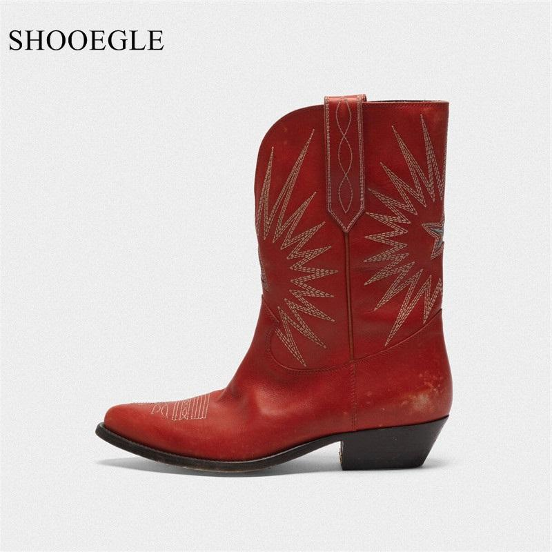 Botas Mujer красные черные западные ботинки ковбой стиль вышивка звезды сапоги женские медные пятки остроконечные носки скользят на кожаных короткими пинетками