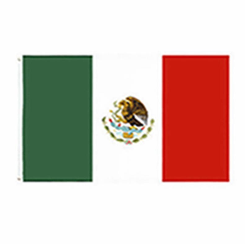 90 * 150cm Drapeau mexicain en gros usine directe prête à expédier 3x5 fts 90x150cm mexicanos drapeau mexicain du Mexique EEA2093