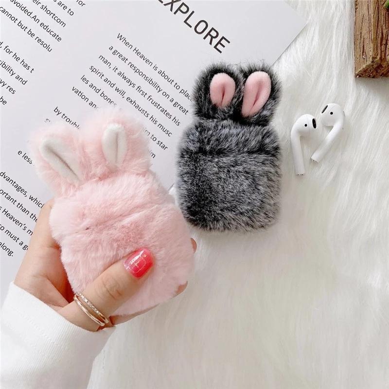 3D mignon hiver chaud fourrure de renard en peluche oreilles de lapin cas écouteur pour Apple AirPod 1 2 pro charge sans fil couvercle casque