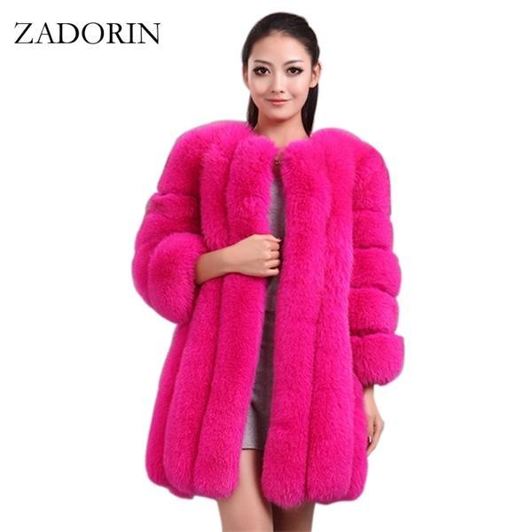 Zatorin S-4XL Winter Luxury Faux Fox Piel Abrigo delgado Largo Rosa Rojo Azul Faux Piel Chaqueta Mujeres Mujeres Falsas Abrigos Manteau Fourure C1030