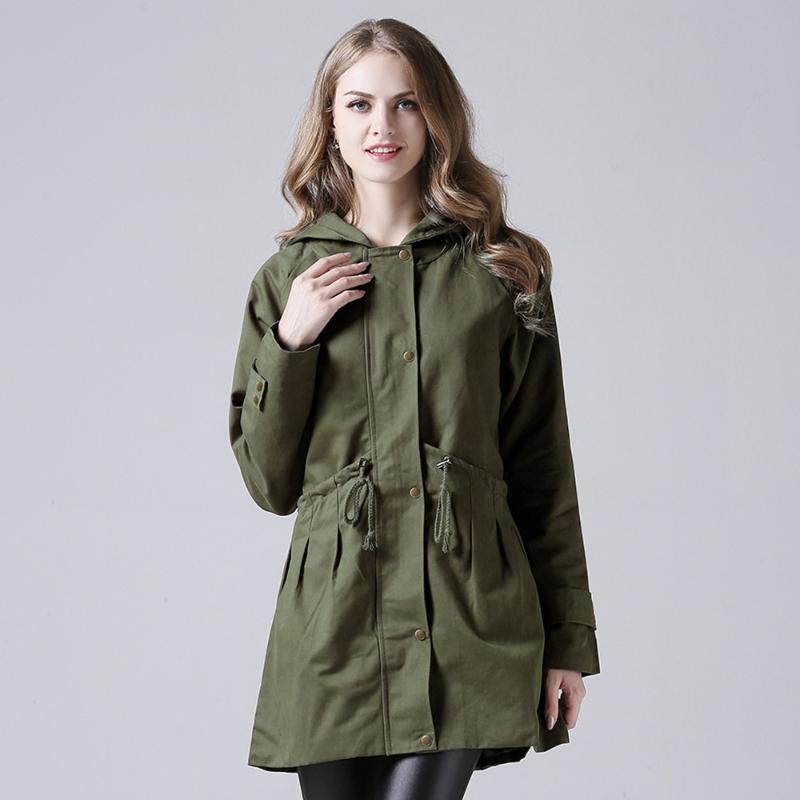 Женщины женские пальто весна осень плюс размер длиной пальто высокая талия ветровка с капюшоном женщин повседневная верхняя одежда короткая TJR9502