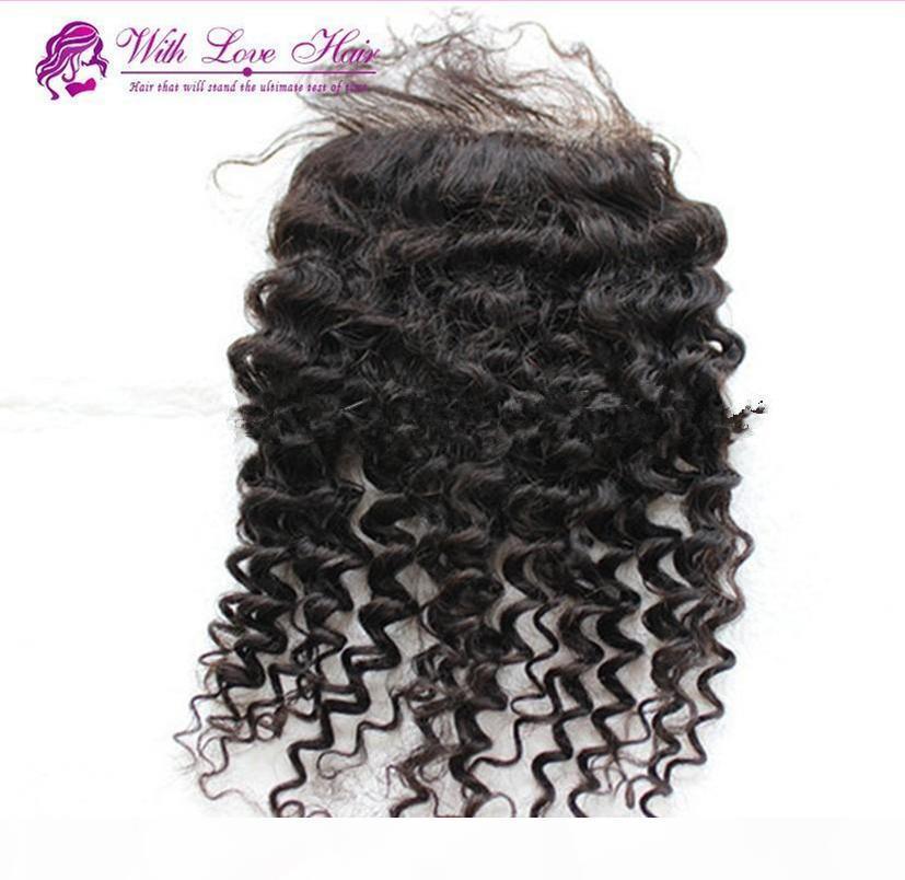 Hôtels 4 * 4 Fermeture de dentelle vierge brésilienne Hair Curl Kinky gratuit Moyen 3Part Front Top dentelle suisse Closures Livraison rapide