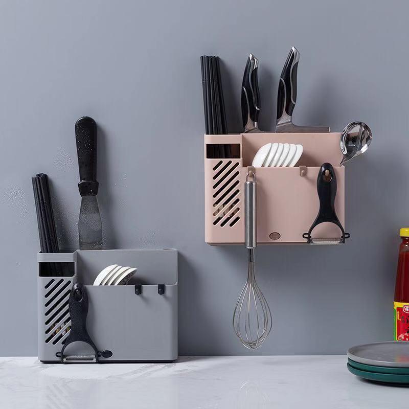Inicio palillos tubo vajilla de almacenamiento caja de cuchillo de cocina titular palillos multifuncionales jaula montada en la pared C1108 estante de drenaje
