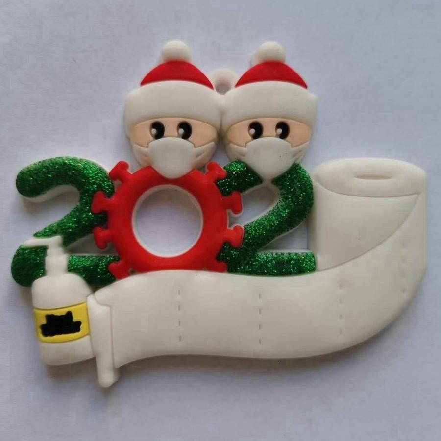 PVC 2020 cuarentena ornamento de navidad de faimly 2 3 4 5 Con la mascarilla del bricolaje Nombre de Navidad de Santa Decoración Mano Sanitized DDA588