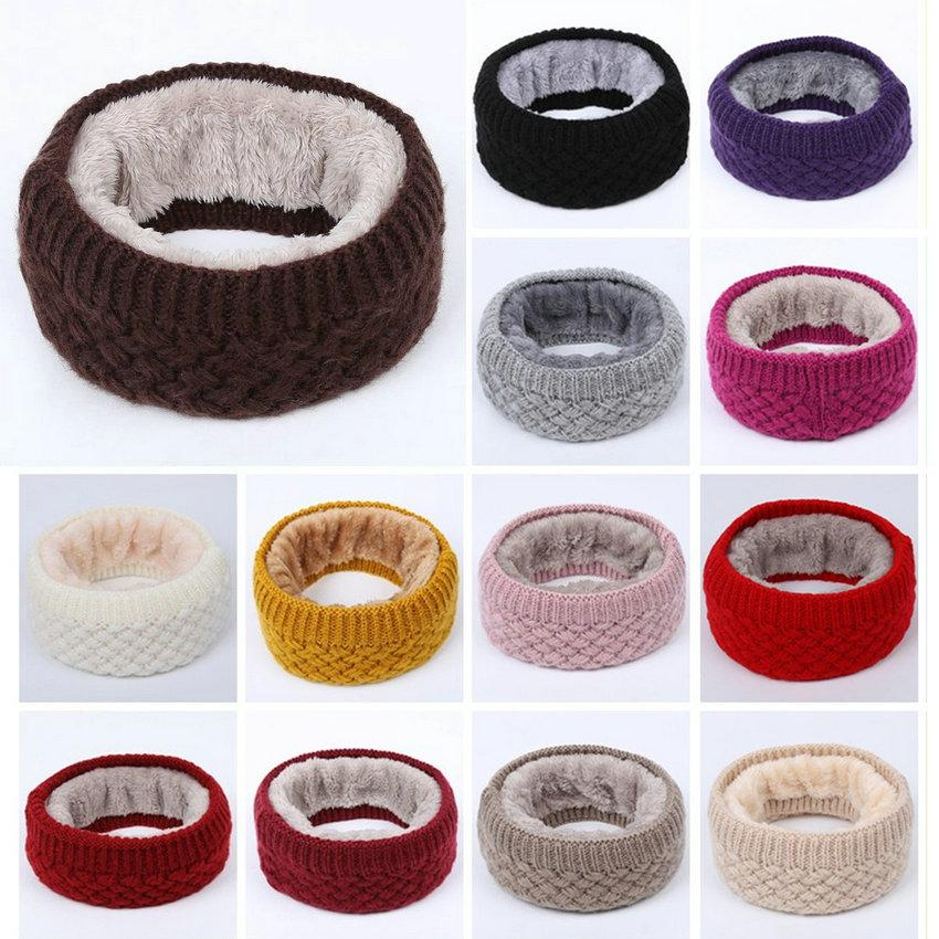 New Winter warm neck scarf solid color wool knitted scarf plus plush thick neck scarf is applicable to both men and women