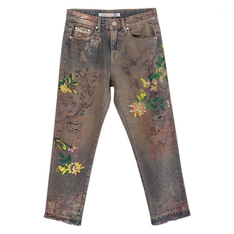 Été automne Designer Femmes Broderie colorée Taille haute taille Rivets en denim Pantalons en jean, pantalons droits peints pour femme1