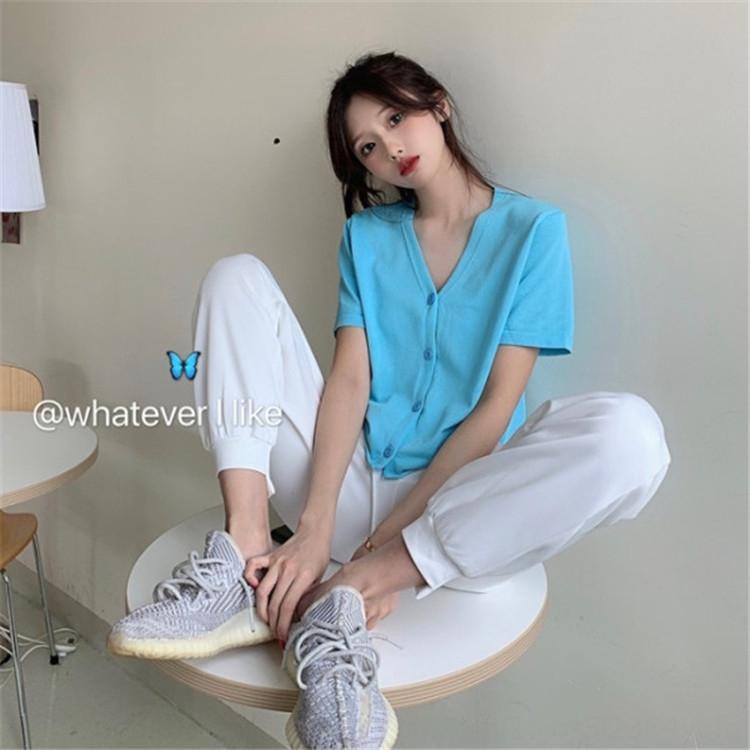 BM kurzes loser V-Ausschnitt Kurzarm T-Shirt mit kleinen Frauen der koreanischen coatCoat Mantel Sommer dünnen Strickjacke schicken Top fPBXs