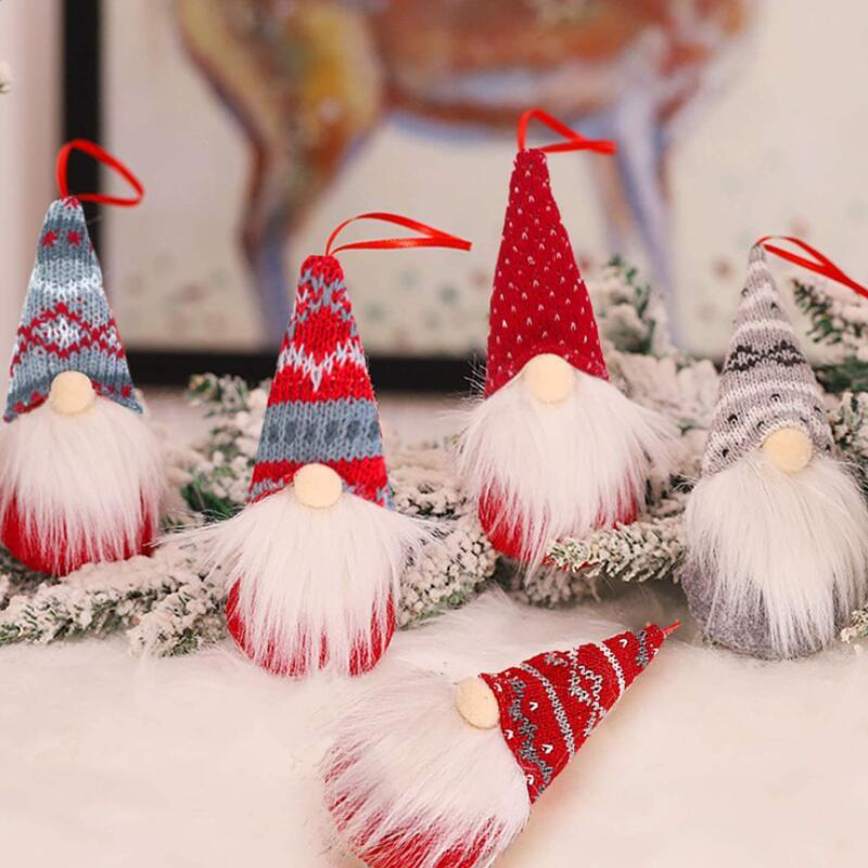 Handmade Christmas Gnomes Ornaments Plush Swedish Tomte Santa Figurine Scandinavian Elf Christmas Tree Pendant Decoration Home Decor LX3620