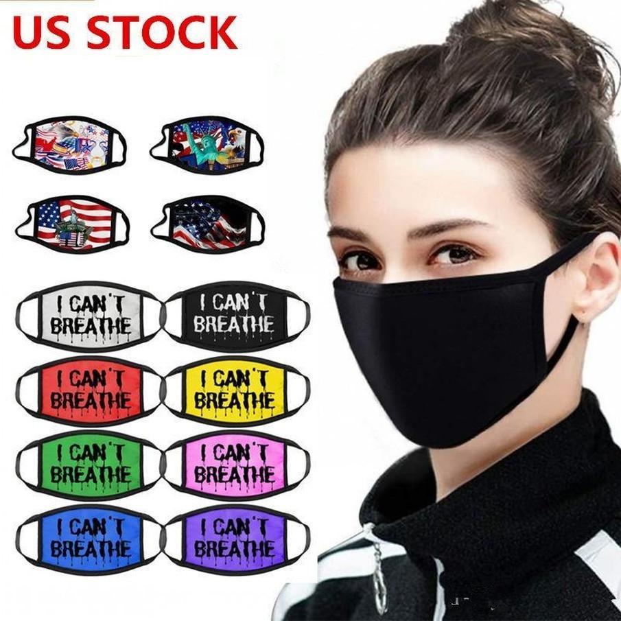 живет на складе США, дизайнерская маска из хлопка США флаг черного материи рот маска велосипедные туристические туристы, 100% хлопчатобумажные моющиеся многоразовые маски ткани