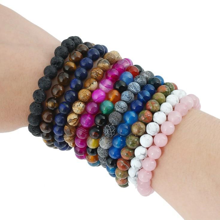 8MM Fashion Brand Luxury Natural Stone Healing Crystal Stretch Beaded Bracelet Women Men Handmade Precious Gemstone Round Bracelets Jewelry