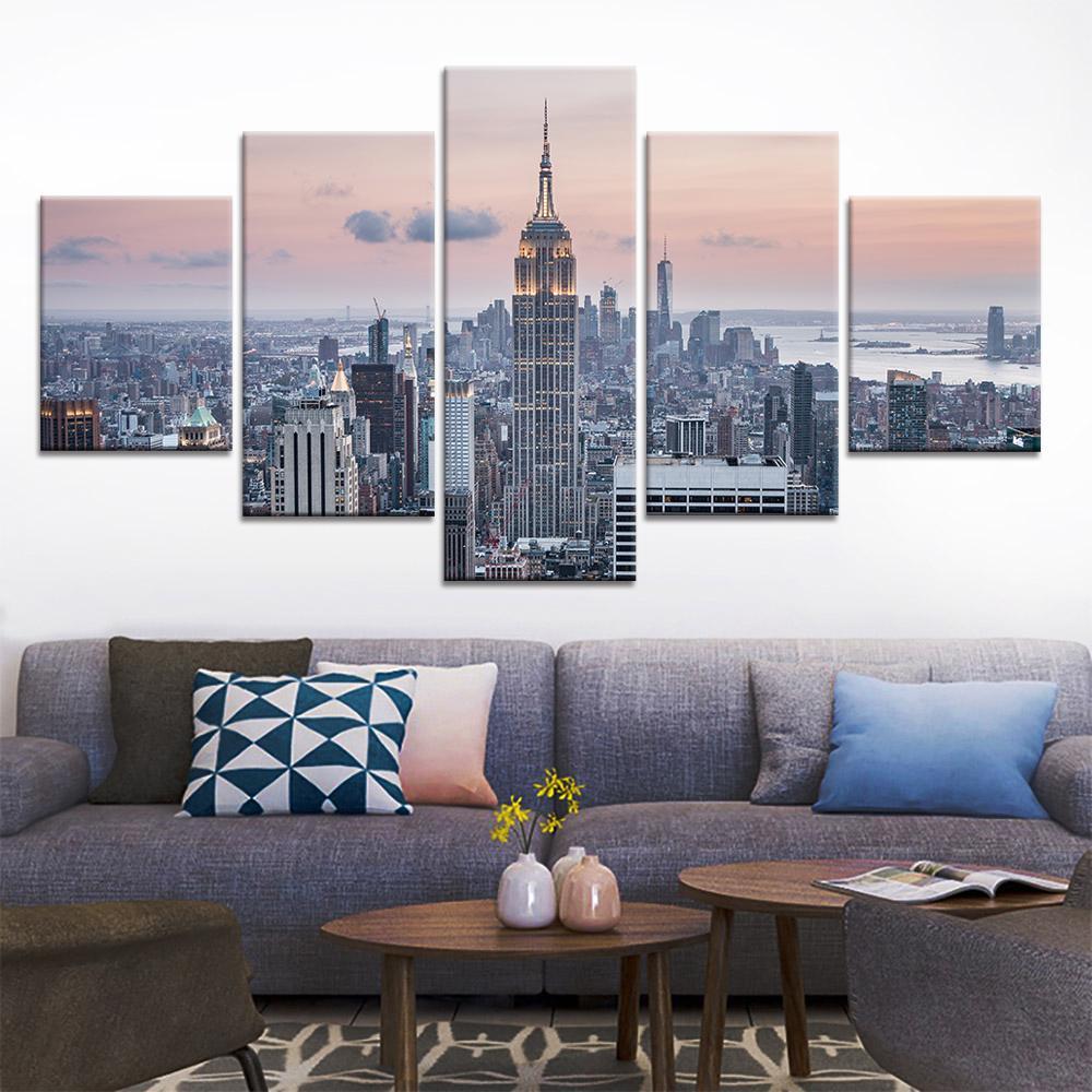 5 Painel Canvas Absract Pintura New York City Edifício Nordic Home Decoração Paisagem Paisagem e Imprime Floresta Wall Art Imagem