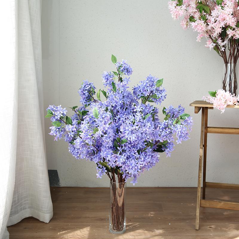 Xuanxiaotong 10pc / Set Large 100 centímetros Lilás flores artificiais para casamento Centerpieces Home Decor Estrada Citado Silk Flower C0930