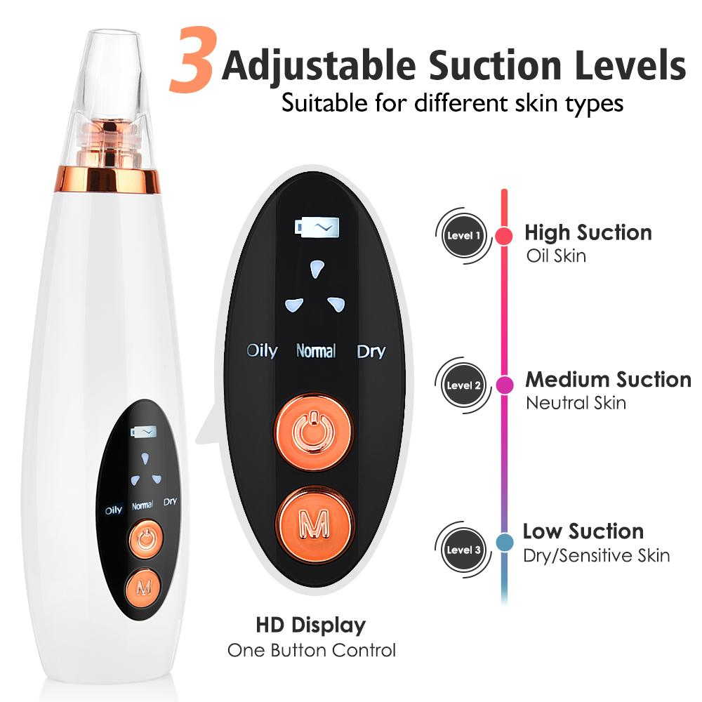 Pore Pore Cleaner Healhead Remover Vacuum Всасывающая очиститель Pore Acne Pimple Extractor Удаление устройства Уход за кожей Красота Toolrabi