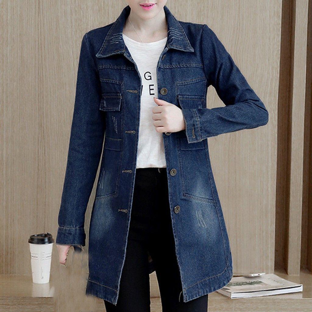 Básico longas Jeans Casacos Mulheres Magro Ripped Denim Jacket Femme elegante desgastado Vintage Jaquetas Outwear Casacos Feminino # J30 C1106