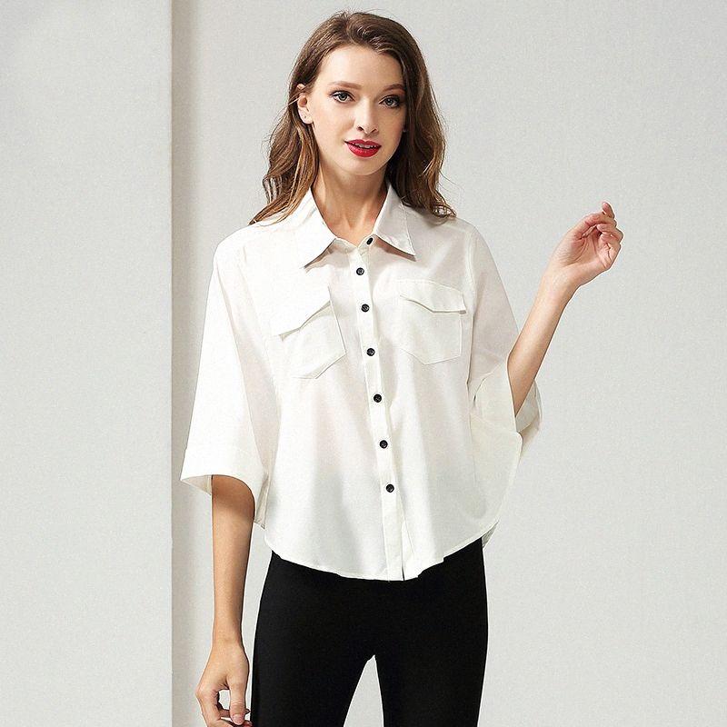 Womens Tops and Blouses Woman Shirts Solid color loose Blouses Batwing Sleeve lapel Blusas Femininas Elegant irregular tops yO8o#