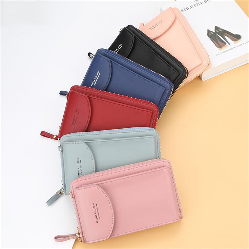2020 nuova delle donne casuale del raccoglitore del telefono cellulare di marca Portafoglio grande Portafoglio borsa frizione borsa Messenger Bag spallacci