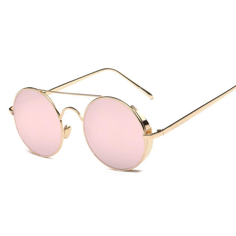Солнцезащитные очки Женщины с круглыми тенденциями 2021 Сплав UV400 Взрослый женский металл