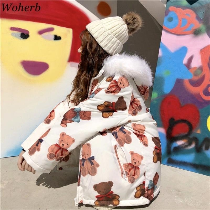Woherb Winter Nette Jacke Frauen Parka Cartoon Druck Harajuku Kawaii Gepolsterte Mäntel Pelz Kapuze Wattded Jacken Lose Warme Outwear 201030