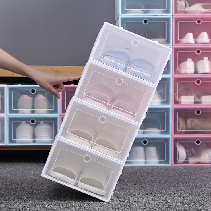 رشاقته واضحة البلاستيك صناديق الأحذية الغبار حذاء تخزين مربع فليب صناديق الأحذية الشفافة لون الحلوى اللون تكويم الأحذية المنظم boxsea dwc4214
