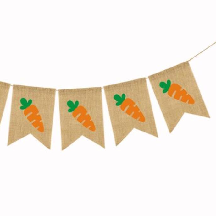Drapeau de Pâques Draps Hanging Banner Bannière Colorée Carottes de lapin Pull Drapeaux Accueil Décor Disposition Décorations de Pâques Décorations de fête DDC4865