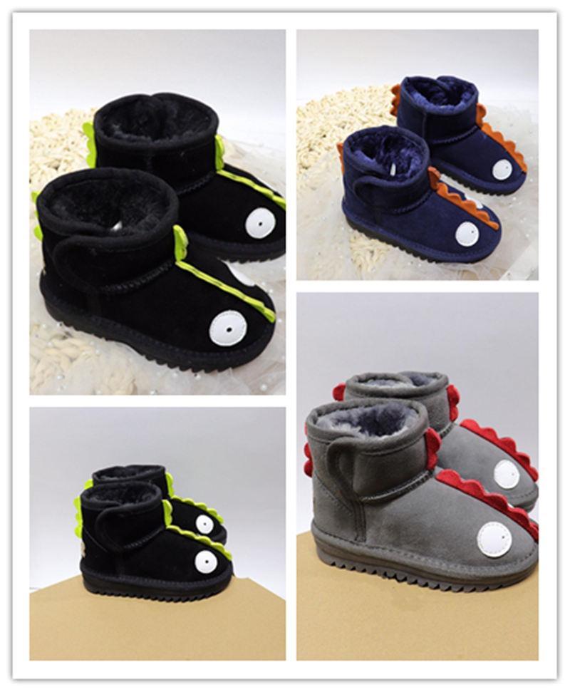 Velcro Dinosaurio Botas al aire libre para niños Zapatos de invierno cálido Zapatos para niños Niñas Oscuro Azul Gris Outdoor Botas Casuales Tamaño 25-34