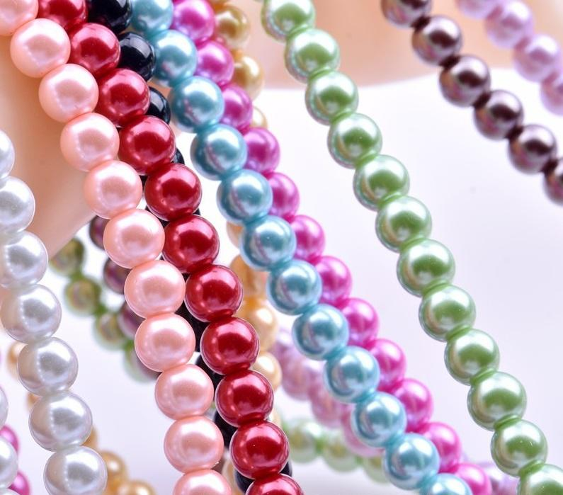 Colori misti 6mm Perle di vetro per perle per perle per gioielli fai da te Collana Bracciale Orecchini