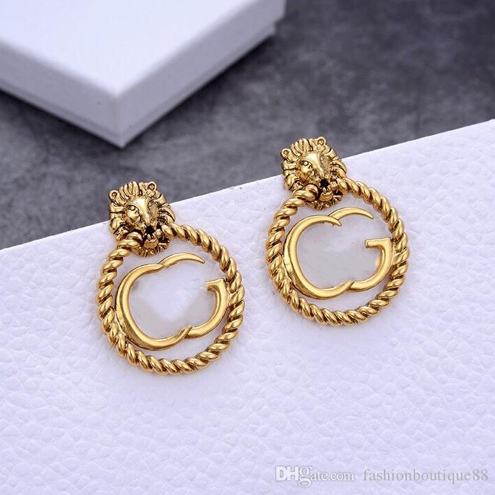 Luxus Designer Schmuck Frauen Ohrringe Löwe Kopf Bolzen mit Brief Stempel Messing mit vergoldetem Diamantohrring Elegante neue Modeschmuck