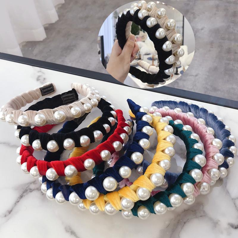 Mode féminine Hairband Perle Winding Bandeau velours à larges bords Couvre-chef de qualité supérieure Turban Accessoires cheveux 8 couleurs