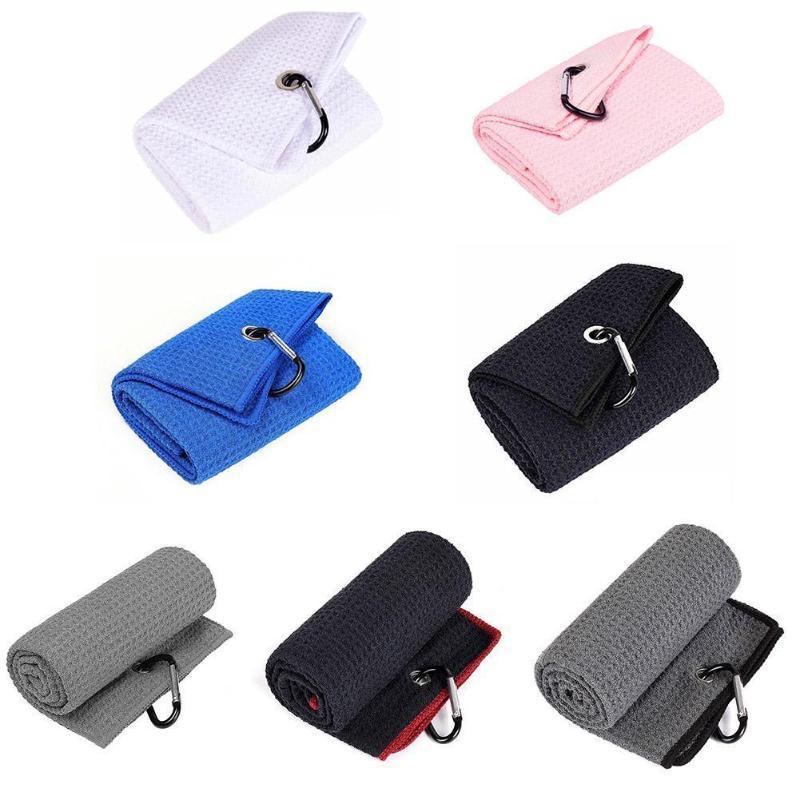 Golf Training Aids Towel Microfiber Fabric Waffle Pattern Heavy Duty Clip Carabiner Accessories E5T8