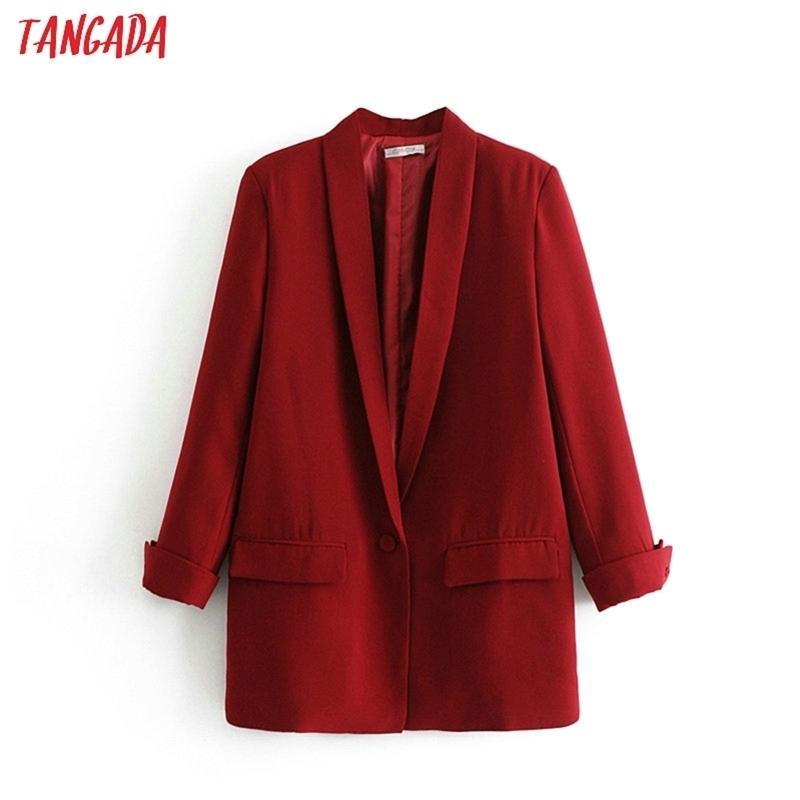 Tangada Fashion Rouge Black Blaser Femme manches longues Collier Notched Collier élégant Dames Travail Casual Marque DA17 Y201026