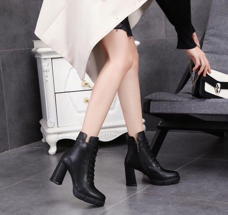 Europe and the United States autumn winter leather trend ankle boots warm slippery wear-resistant outsole thick heel fashion